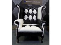 NEW Unique Chesterfield Queen Anne Wing Back Chair Black & White Leather - Uk Delivery