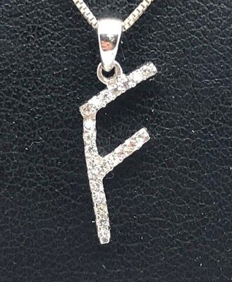 Sterling Silver 925 Abstract F Letter Alphabetic CZ Pave Oxidized Chain -