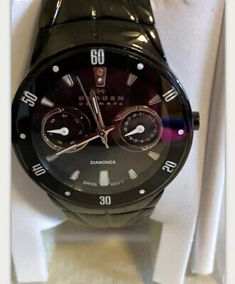 Skagen Women's Swiss Black Stainless Steel Diamond Quartz Watch gorgeous date Steel Diamond Casual Watch