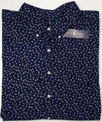 NWT $98 Polo Ralph Lauren SS Navy Blue Floral Oxford Shirt Mens Size 2XLT (Navy Polo Ralph Lauren)