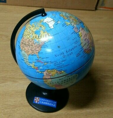 University of Cambridge coloured globe , VGC, vintage, detailed, scale on stand