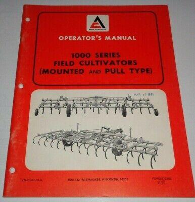 Allis Chalmers 1000 Series Field Cultivator Operators Owner Manual Ac Original