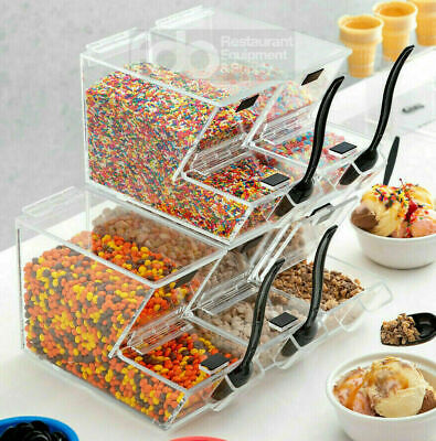 4 Pack Ice Cream Topping Candy Clear Stackable Dispenser Soft Serve Machine