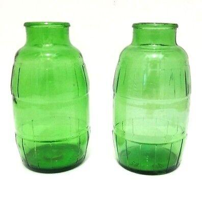 Pair Vintage Barrel Shaped Beer Bottles Green Glass 14 oz