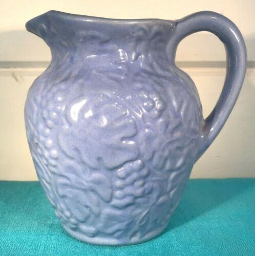 "Uhl Pottery Yellow Ware Stoneware Grapes & Leaves blue glaze 183 milk pitcher 6"""