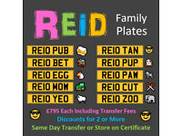 REID Family Number Plates - Cherished Personal Registration Number Plate - £795 Each Incl DVLA Fees