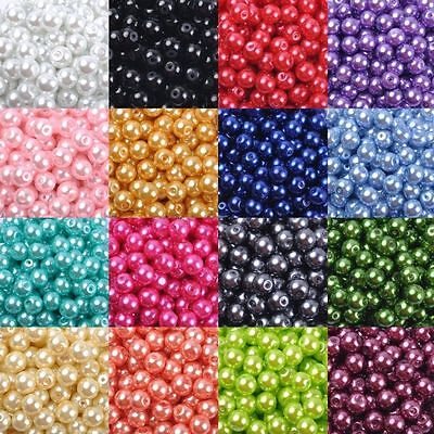 (Acrylic Pearl Spacer Loose Beads Necklace Jewelry Making DIY Craft 4/6/8/10/12mm)