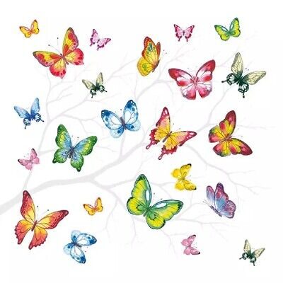 4 Lunch Paper Napkins for Decoupage Party Table Craft Vintage   Butterflies Ivy