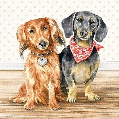 4 Lunch Paper Napkins for Decoupage Party Table Craft Vintage Dachshund
