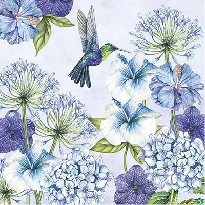 4 Lunch Paper Napkins for Decoupage Party Table Craft Vintage Hummingbird Blue