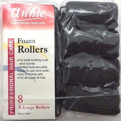 - BRAND NEW ANNIE #1064 BLACK 8ct X-LARGE FOAM ROLLERS 1-1/4