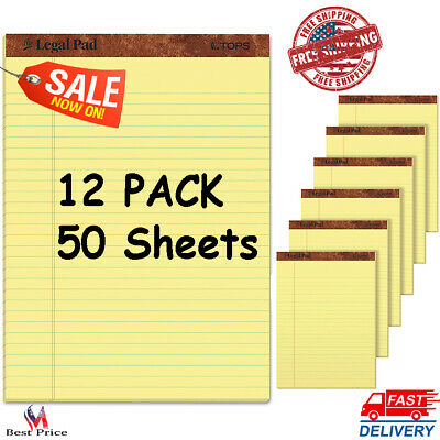 Pad Writing Pads Canary Paper Legal Rule Perforated Sheets 50 Sheets 12 Pack