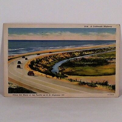 Vintage Along the Shore of the Pacific on U.S. Highway 101 Calif. Post Card 1939