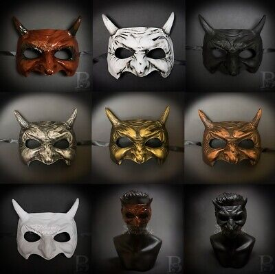 Halloween Devil Mask (Goblin Devil Horns Halloween Costume Cosplay Venetian Masquerade)