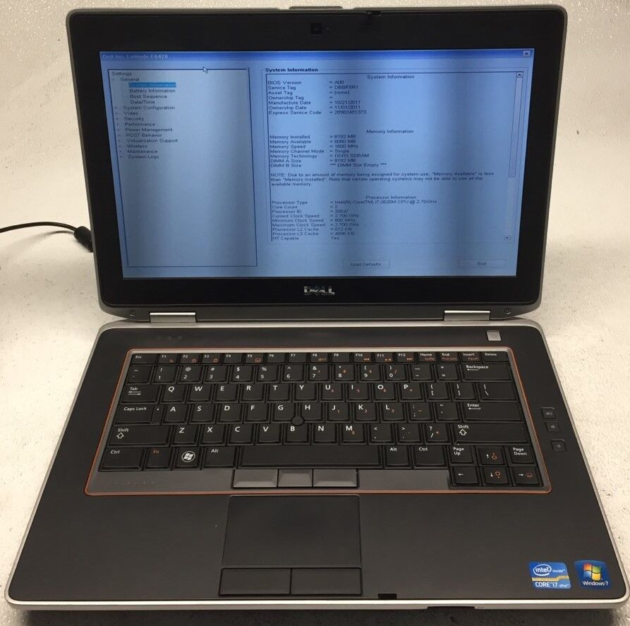 Dell Latitude E6420 i7-2620M 2.70GHz 8GB RAM NO HDD Powers on *BOOTS TO BIOS*