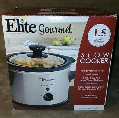 Elite Gourmet 1.5 Quart Capacity Slow Cooker, Model MST-250XS New