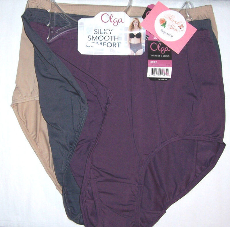 Olga Brief Without A Stitch Nylon Microfiber Nude Gray Purple 3 Panty Size 7 L