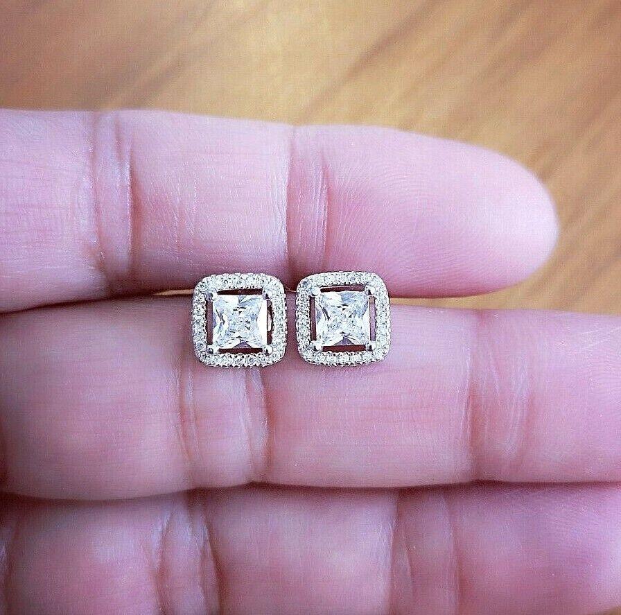 2Ct Princess Cut Diamond Halo Earrings 14K White Gold Over Women Stud Earrings