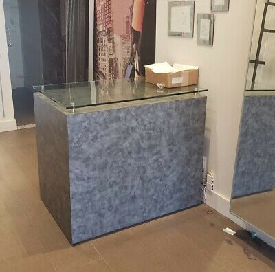 Modern Grey Glass Top Reception Desk Great Condition