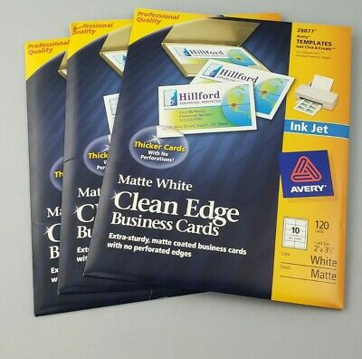 Avery 28877 Clean Edge Matte White Ink Jet White Business Cards 120 Brand New