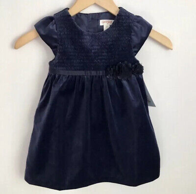 New Toddler Girl's Cat & Jack Blue Velvet Short Sleeve Party Dress 3T
