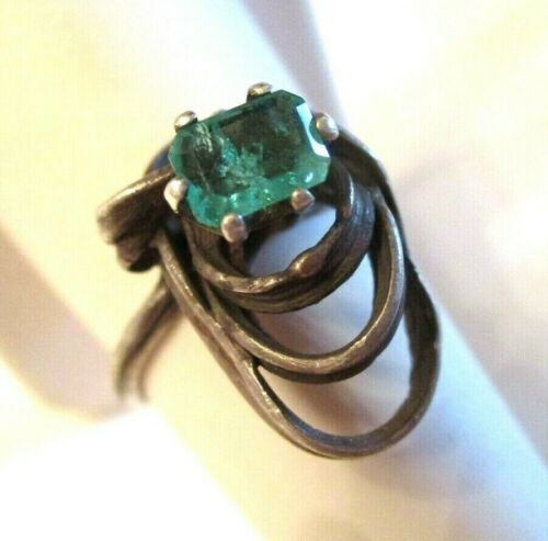 AWESOME 1970s Vintage MID CENTURY MODERN Sterling Silver & EMERALD RING