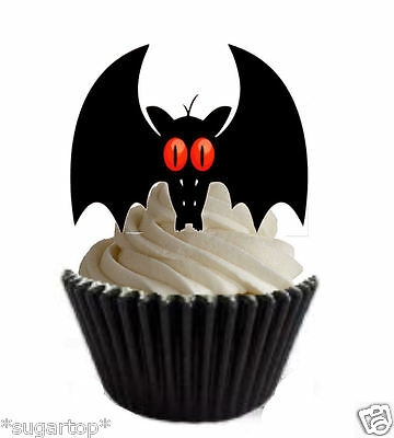Halloween Eye Cupcakes (20 xRED EYE BATS Halloween - STAND UPS Edible Wafer Cup Cake Toppers)