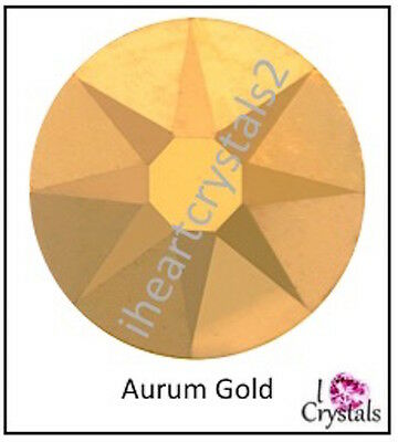 (AURUM GOLD Swarovski 34ss 7mm Solid Crystal Flatback Rhinestones 2088 12 pcs)