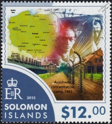 WWII Liberation of AUSCHWITZ Concentration Camp & Poland Map Stamp #1 (2015)