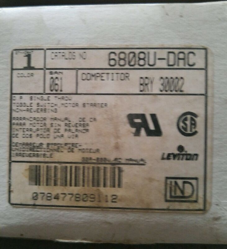 Leviton 6808U-DAC Toggle Switch Motor Starter