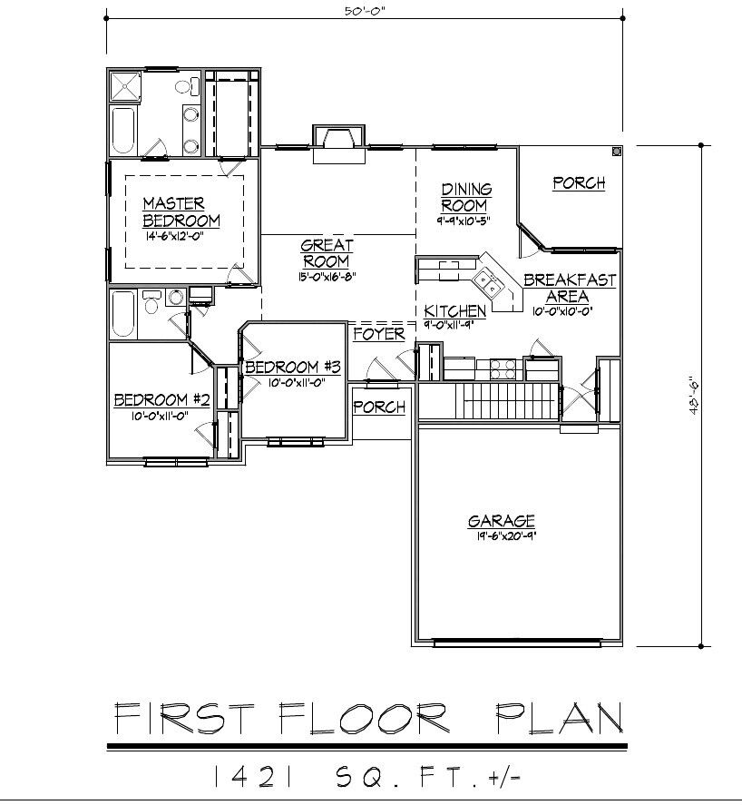 1421sf Ranch House Plan W Garage On Basement