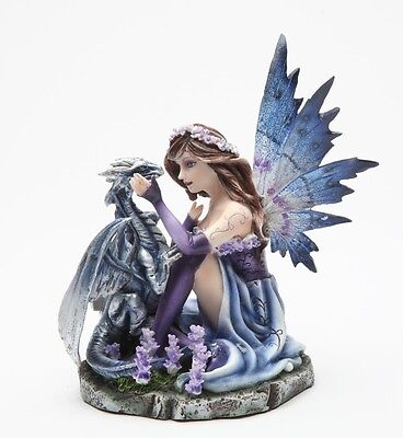 Purple Fairy w Dragon Pet Figurine Statue Fairyland Faery Collection