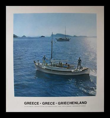 GREECE YACHTING SAILING BOAT TOURISTS 1975 TRAVEL POSTER RAPHAELIDIS