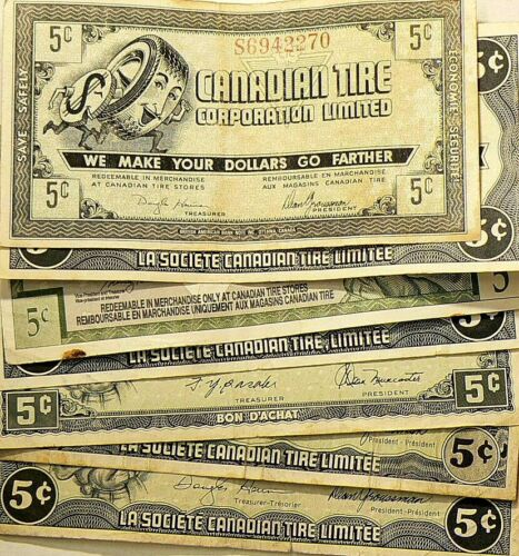 Canadian Tire Coupons 5 Cents Lot of 7 #5923