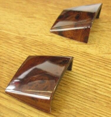 PAIR OF BURL WOOD SEAT-BACK STRAP SCREW COVERS 1990-92 CADILLAC BROUGHAM