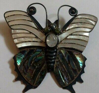 Sajen 925 Butterfly Brooch Pendant Sterling Silver Crystal Enamel Big Vintage ? Sterling Silver Enamel Butterfly Pendant