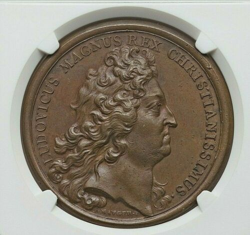 1690 FRENCH CANADA LOUIS XIV LIBERATION OF QUEBEC BRONZE MEDAL NGC MS-63 BROWN