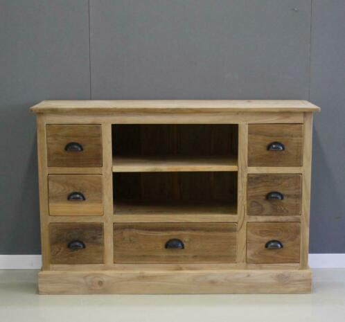 Tv Kast Onbehandeld Hout.Teak Houten Tv Meubel 7 Laden 120cm Breed Indoteak Kasten