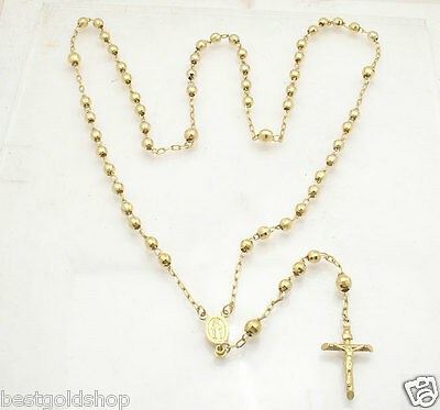"""5mm 26""""  Medallion Cross Crucifix Rosary Chain Necklace Real 14K Yellow Gold 21g"""