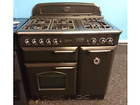 *58 black rangemaster 90cm 5 burner dual fuel cooker comes with warranty can be delivered or collect