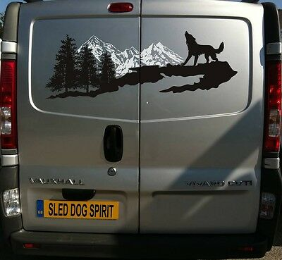 100CM MOUNTAINS AND SLED DOG VAN STICKER DECAL MUSH MUSHER HUSKY WOLF WOLVES