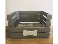 Grey Wooden Crate Dog/Small Pet Bed