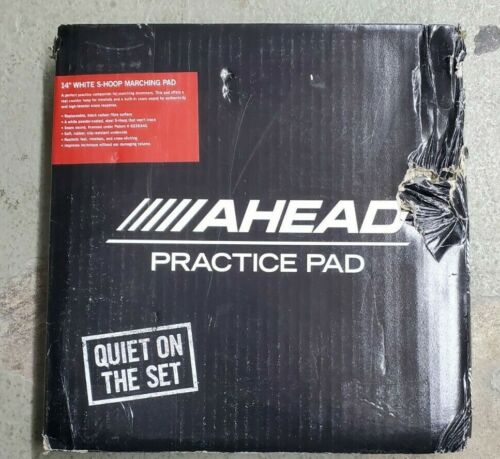 "Ahead AHSHPCH 14"" White S-Hoop Marching Snare Drum Practice Pad with Snare Sound"