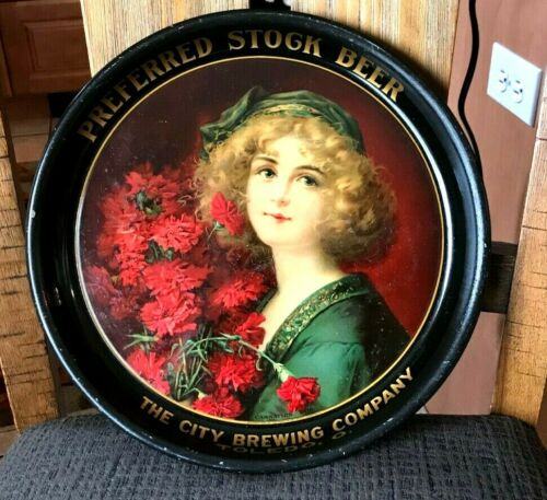 """ULTRA RARE PRE-PRO CITY BREWING CO TOLEDO OH 13"""" BEER TRAY CARNATION GIRL OHIO"""