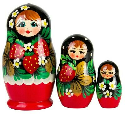 Nesting Dolls with Strawberry Pattern. Khokhloma 3 pc. Matryoshka from Russia
