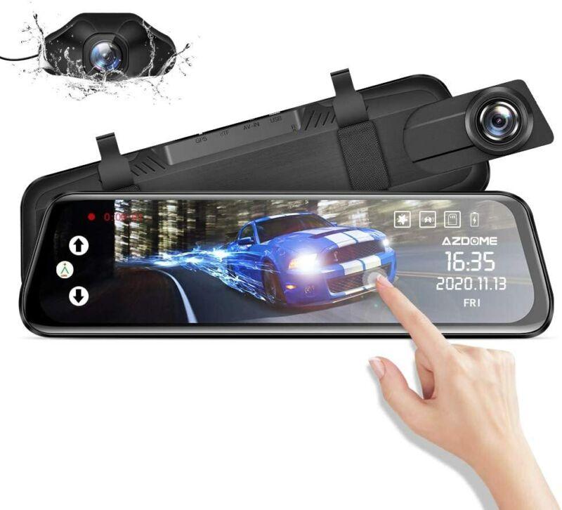 "AZDOME Upgrade 10""IPS Full Touch Screen Mirror Dashcam Dual Lens Car Camera"