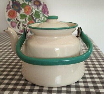 Vintage Carlunds Sweden Cream and Black Enamel Ware Kettle Teapot 1.5L