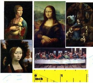 DOLLSHOUSE-Miniature-Leonardo-Da-Vinci-Mona-Lisa-Art-Print-Set-CDHM