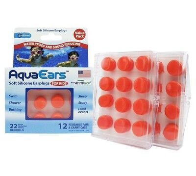 Kids Aqua Ears Soft Silicone Ear Plugs 12 Reusable Pairs & Carry Case Waterproof