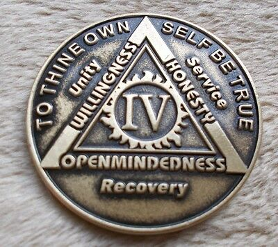aa bronze alcoholics anonymous 4 year sobriety chip coin token medallion, used for sale  Philadelphia